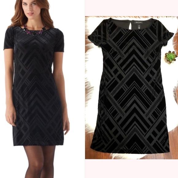 b43e5a6495a White House Black Market Deco Velvet Shift Dress. M 5adcd7251dffda489cccd033